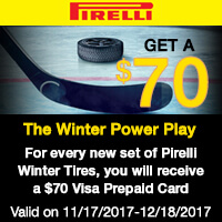 Buy 4 qualifying Pirelli tires from November 17 to December 18, 2017 and get a $70 Visa® Prepaid Card via mail-in rebate.
