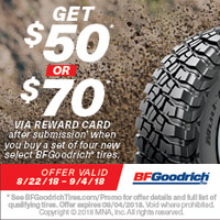 rebate image for BFGoodrich 2018 Promotion