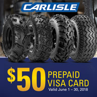 Get $50 Visa Prepaid Card when you buy a set of 4 qualifying Carlisle tires from June 1-30, 2018.