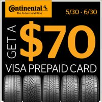 Get $70 Visa® Prepaid Card by mail when you buy 4 new Continental passenger or light truck tires from May 30 to June 30, 2018.