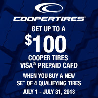 rebate image for Cooper Tires Summer Reward Offer 2018