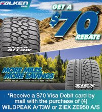 Receive a $70 Visa Debit card by mail with the purchase of (4) WILDPEAK A/T3W or ZIEX ZE950 A/S tires.