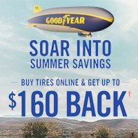 Buy 4 select Goodyear tires from April 1st to June 30th, 2018 and get up to $160 back.
