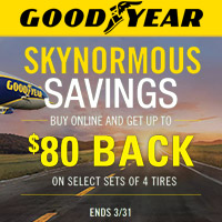 Buy 4 select Goodyear tires from January 1st to March 31st, 2018 and get up to $80 back.