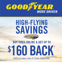 Buy 4 select Goodyear tires from July 1, 2018 to September 30, 2018 and get up to $160 back.