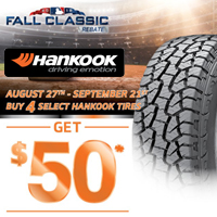 Buy 4 select Hankook tires from August 27, 2018 to September 21, 2018 and get $50 by mail-in or online rebate.