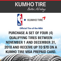 Get $70 Kumho Tire Visa Prepaid Card when you buy a set of four (4) Kumho Crugen HP71 from November 1, 2018 to December 31, 2018.