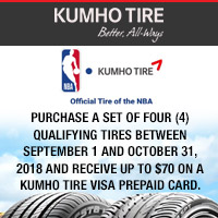 Get $70 Kumho Tire Visa Prepaid Card when you buy four (4) select Kumho tires from September 1, 2018 to October 31, 2018.