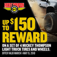 rebate image for Mickey Thompson 2018 Spring Pre-paid Card Offer