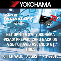 Buy a set of four Avid Ascend® GT Tires between August 1 - 31, 2018 and get a $70 Yokohama Visa® Prepaid Card!