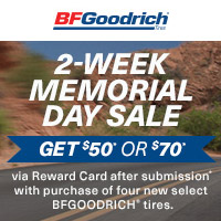 rebate image for BFGoodrich 2-Week Memorial Day Sale