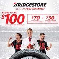 Buy 4 eligible Bridgestone Tires and get a $70 prepaid card.