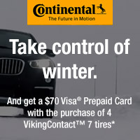 Buy four VikingContact 7 tires between 12/1–12/31/19 and receive a $70 Continental Tire Visa Prepaid Card.
