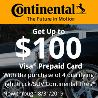 Get up to $100 Visa Prepaid Card with the purchase of 4 qualifying tires.
