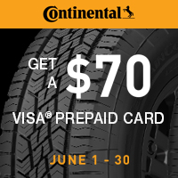 Receive a $70 Continental Tire Visa Prepaid Card with the purchase of four qualifying passenger Continental tires from 6/1/2019–6/30/2019.
