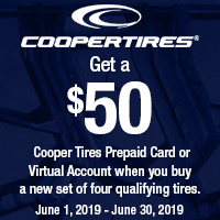 Buy 4 new qualifying Cooper Tires and get a $50 Cooper Tires Prepaid Card of Virtual Account.