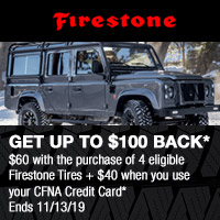 Buy 4 eligible Firestone Tires between 27 September-13 November, 2019 and get a $60 rebate.