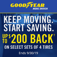 Buy 4 select Goodyear Tires and get up to $100 rebate.