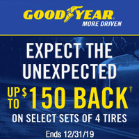 Buy 4 select Goodyear tires between 1 October-31 December, 2019 and get up to $150 back by rebate via MasterCard® prepaid card.