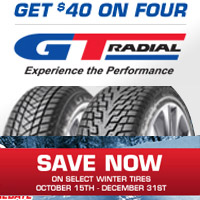 Buy (4) select GT Radial winter tires from October 15 to December 15, 2019 and get up to $40 Visa® Prepaid Card.
