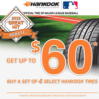 Get up to $60 Hankook Prepaid Mastercard with a purchase of set of four (4) eligible Hakook tires.