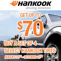 Buy 4 select Hankook tires and get up to $70 in a Hankook Prepaid Mastercard