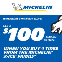 Get a $100 mail-in rebate when you buy 4 tires from the Michelin X-ICE Family.