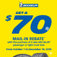 Buy (4) new Michelin passenger or light truck Michelin tires from October 1 to December 18, 2019 and get up to $70 mail-in rebate.