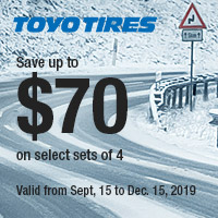 Buy (4) new qualifying Toyo tires from September 15 to December 15, 2019 and get up to $70 mail-in rebate.