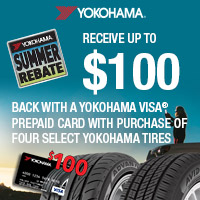 Get up to $100 back with a Yokohama Visa® Prepaid Card or Visa Virtual Account with a purchase of four (4) select Yokohama tires.