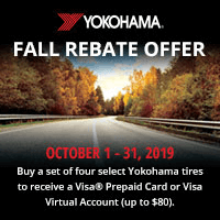 Buy four select Yokohama tires between 1 October to 31 October and get up to $80 in a Visa Prepaid Card