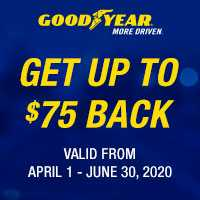 Get a Goodyear prepaid Mastercard® by online or mail-in rebate on a purchase of a set of 4 select Goodyear® tires