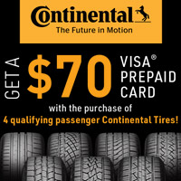 Receive a $70 Continental Tire Visa Prepaid Card with the purchase of four qualifying