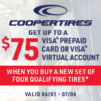 Get up to a $75 Visa Prepaid Card or Visa Virtual Account when you buy a new set of four qualifying tires*