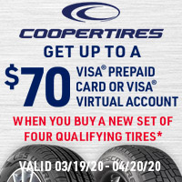 Get a $70 Visa® Prepaid Card or Visa® Virtual Account when you buy a new set of four qualifying tires.