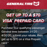 <p>Purchase four (4) eligible passenger General Tires between 03/01-04/30/2020 and get up to $70 on a Visa Prepaid card via mail-in rebate.</p>