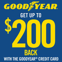 Buy a set of 4 select Goodyear tires and get up to $100 Prepaid Mastercard by online or mail or double your reward when you use the Goodyear Credit Card.