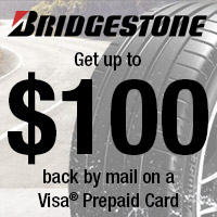 Buy 4 eligible Bridgestone tires and get up to a $100 rebate.