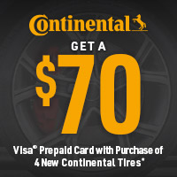 Receive a $70 Continental Tire Visa Prepaid Card with purchase of four qualifying passenger Continental tires