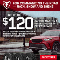 Receive up to an $80 reward with a qualifying tire purchase of four (4) Firestone tires. Receive an additional $40 reward by using your new or existing CFNA credit card.