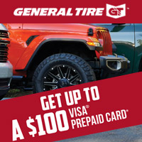 Purchase 4 qualifying Light Truck/SUV General Tires and get up to a $100 Visa Prepaid Card.