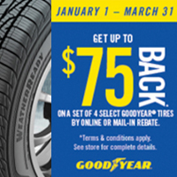 Get up to $75 back in Goodyear Visa* Prepaid Card or Virtual Account when you purchase a set of 4(four) qualifying Goodyear Tires from January 1 to March 31, 2021.