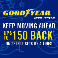 Get a Goodyear Visa prepaid card or virtual card by online or mail-in rebate on a purchase  of a set of 4 select Goodyear tires
