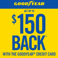 <p>Buy a set of 4 Goodyear<sup>®</sup> tires and get a Visa<sup>®</sup> Prepaid Card or virtual account by online or mail-in rebate.</p>