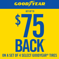 Get a Goodyear Visa Prepaid Card or virtual account by online or mail-in rebate on a purchase of a set of 4 select goodyear tires.