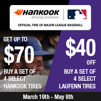 Get up to $70 when you buy a set of 4 select Hankook Tires and $40 off a set of 4 select Laufenn Tires.