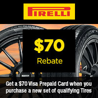 Get a $70 Visa Prepaid Card when you purchase a new set of Pirelli CINTURATO™ or SCORPION™ Qualifying Tires