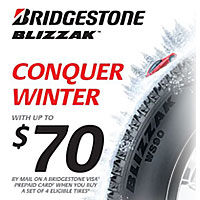 Buy (4) select Bridgestone tires between October 7 and December 15, 2019 and get up to $70 in Visa® Prepaid Card via mail-in rebate.