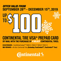 Buy (4) select Continental tires from September 28-December 15, 2019 and get up to $100 Visa® Prepaid Card.