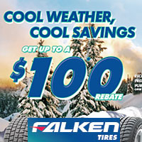 Buy (4) select Falken tires between October 1 and December 15, 2019 and get up to $100 in mail-in rebate.